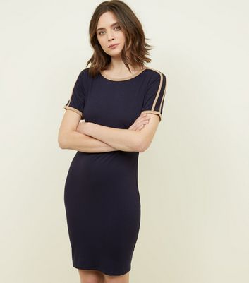 Pink Vanilla Navy Contrast Trim Bodycon Dress