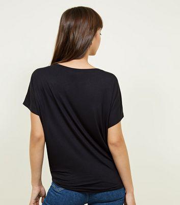 New Look - Black Tie Side T-Shirt - 3