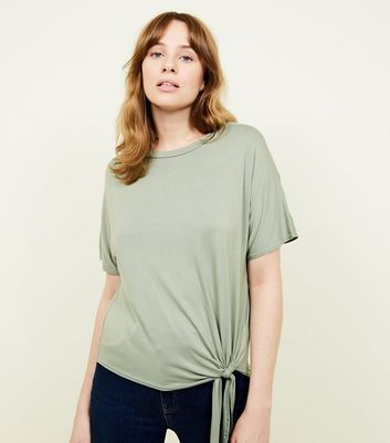 New Look - Olive Green Tie Side T-Shirt - 1