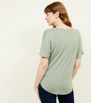 New Look - Olive Green Tie Side T-Shirt - 3