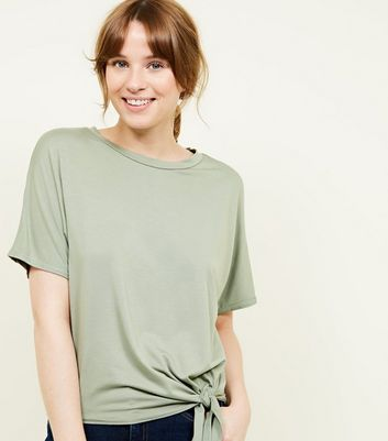 New Look - Olive Green Tie Side T-Shirt - 5