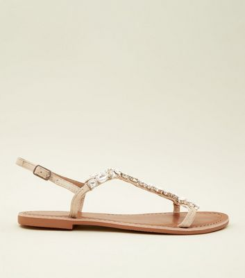 Nude Diamanté Strap T-Bar Leather Sandals