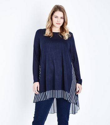 Blue Vanilla Curves Navy Back Stripe Tunic Top