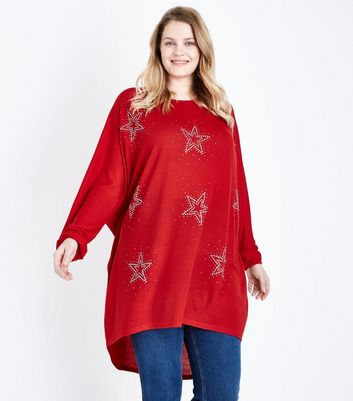 Blue Vanilla Curves Red Star Batwing Sleeve Top