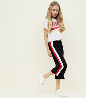 Teens Black Stripe Side Ribbed Culottes