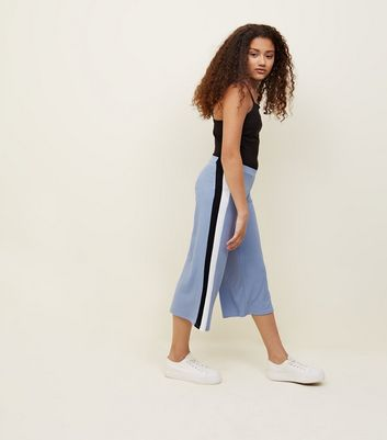 Girls Pale Blue Side Stripe Ribbed Culottes