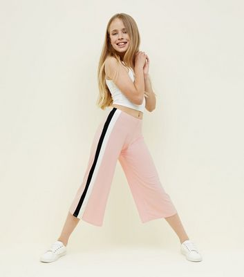 Teens Pale Pink Side Stripe Ribbed Culottes