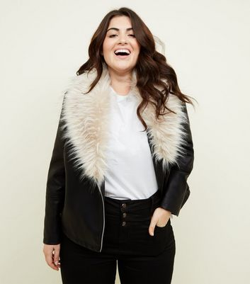 Curves Black Faux Fur Collar Leather-Look Jacket