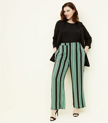 Curves Green Stripe Wide Leg Trousers