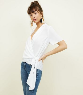 Off White Wrap Front Revere Collar Blouse