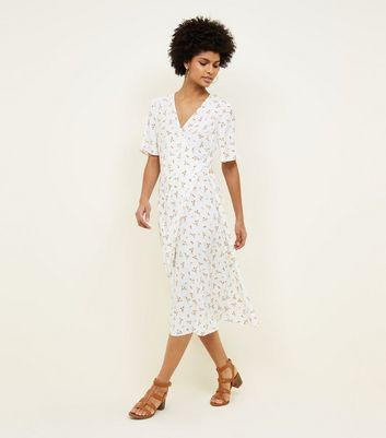 Off White Ditsy Floral Wrap Front Midi Dress