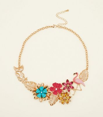 Multi Colour Flamingo and Floral Necklace