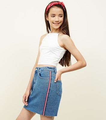 Girls Blue Stripe Side Tape Denim Skirt