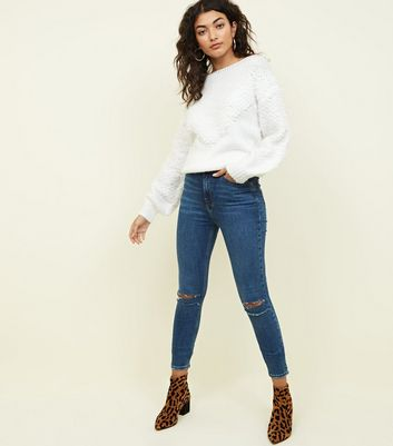 Blue High Rise Ripped Knee Super Skinny Dahlia Jeans