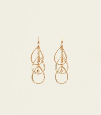Gold Overlapping Teardrop Chain Earrings