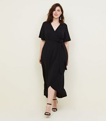 Curves Black Dip Hem Wrap Dress