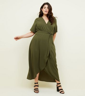 Curves Green Dip Hem Wrap Dress