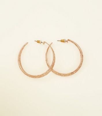 Rose Gold Filigree Cut Out Hoops