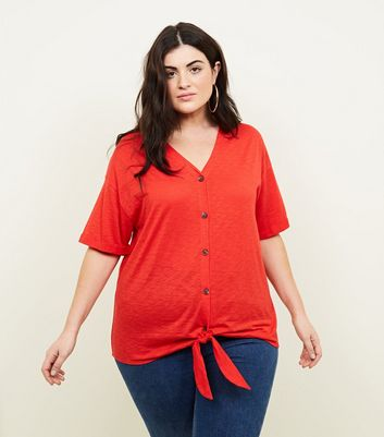 Curves Red Button Tie Front T-Shirt