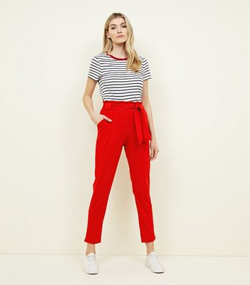 Cameo Rose Red Belted Paperbag Waist Trousers