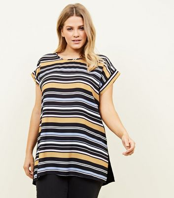 Curves Black Multi Stripe Woven Front T-Shirt