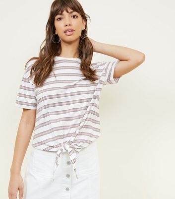 White And Pink Stripe Tie Front T Shirt by New Look