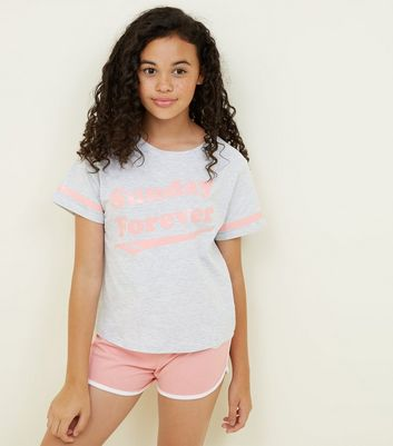 Girls Coral Forever Sunday Slogan Pyjama Set