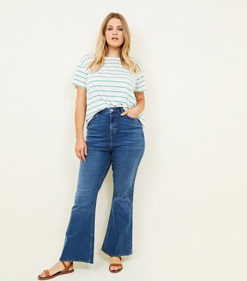 Curves Blue Flared Jeans