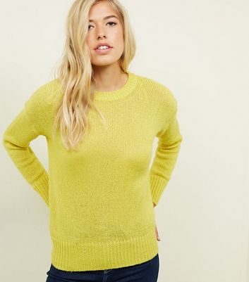 Lime Green Dip Hem Jumper