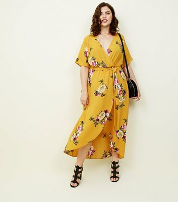 Curves Mustard Floral Dip Hem Midi Dress