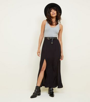Black Split Front Maxi Skirt