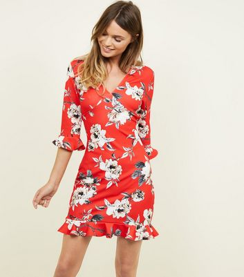 Pink Floral Strappy Wrap Front Midi Dress; Red Floral Frill Trim Mini Dress