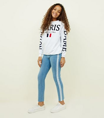 Girls Pale Blue Stripe Side Skinny Jeans