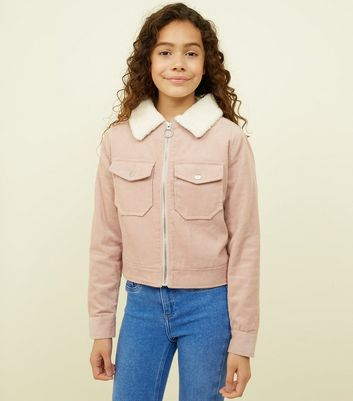 Teens Pink Corduroy Borg Collar Jacket