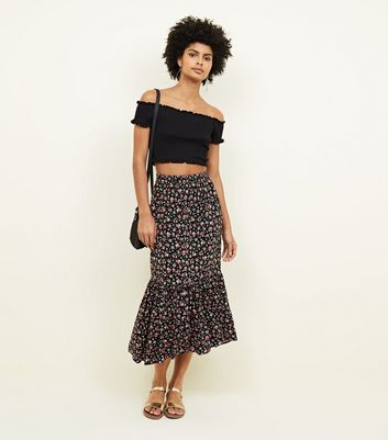 Black Ditsy Floral Tiered Midi Skirt