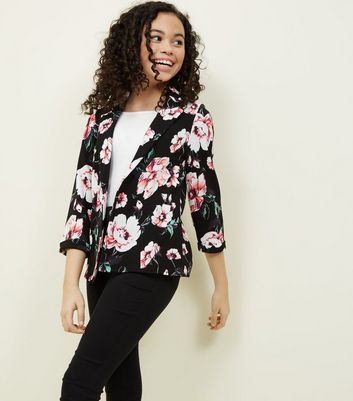 Teens Black Floral Blazer
