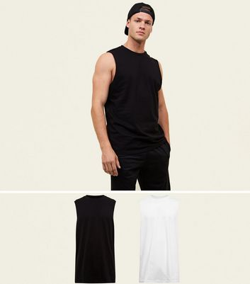 2-pack-black-and-white-round-neck-tank-top by new-look