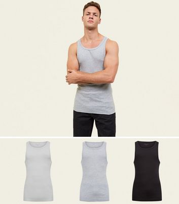 3 Pack Multicoloured Ribbed Vests