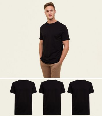 3 Pack Black Crew Neck T-Shirt