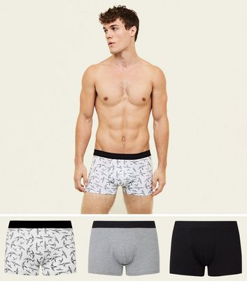 3 Pack Black Swallow Print Trunks