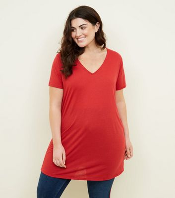 Curves Dark Red Textured Oversized T-Shirt
