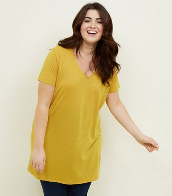 Curves Yellow Textured Oversized T-Shirt