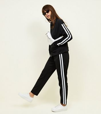 Black Double Side Stripe Joggers