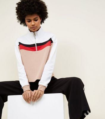 Camel Colour Block Half Zip Sweatshirt