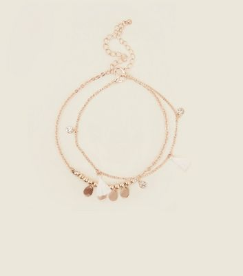 White Tassel And Beaded Anklet Pack by New Look