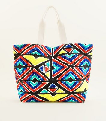 Multicoloured Geometric Textured Beach Bag
