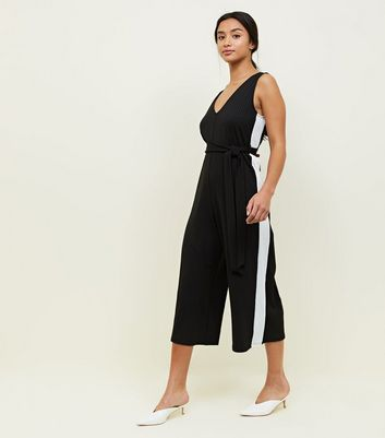 Petite Black Side Stripe Belted Culotte Jumpsuit