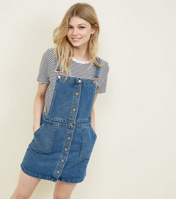 Petite Blue Button Front Denim Pinafore Dress