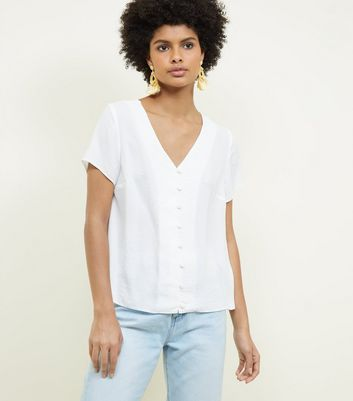 Off White V-Neck Button Front Blouse