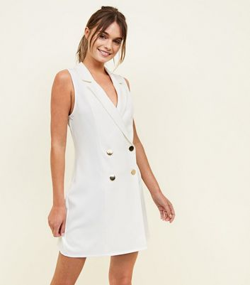 Off White Sleeveless Tuxedo Dress
